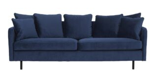 Chenell 3 pers. sofa - Blå velour