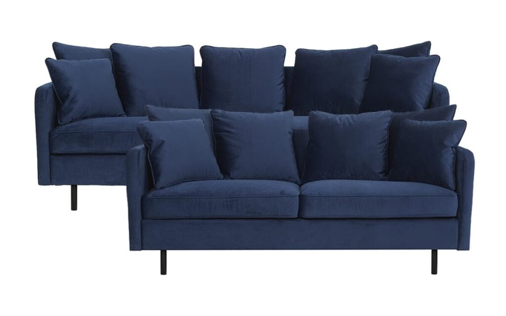 Chenell 3+2 pers sofa - Blå velour