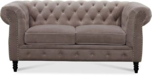 Chesterfield CAMBRIDGE 2 pers. velour sofa lysrgrå