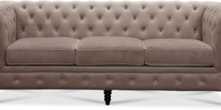 Chesterfield CAMBRIDGE 3 pers. lysegrå velour sofa