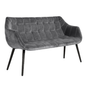 DINNER sofa i velour - L150 cm - grå/sort