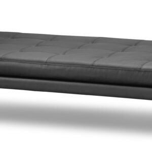 New York daybed, ægte sort læder