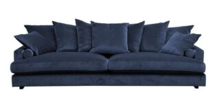 Fabriano 3,5 pers blå velour sofa